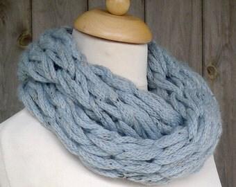 Merino Snood: blue tweed