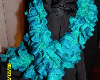 Handmade Turquoise Sashay Ruffle Scarf
