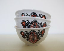Set of 5 Soviet Dessert Bowl, Tea Bowl, Vintage Candy Bowl with Russian Ornament. Vintage Soviet Design, Made in USSR Collectible