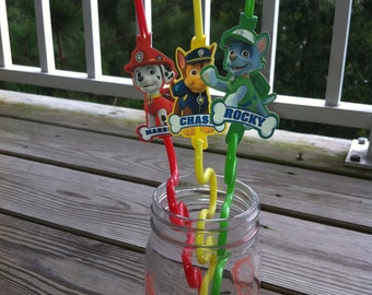 Paw Patrol  Inspired Straw Flags