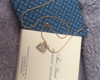 "Vintage Avon Pave Heart Pendant Necklace 16"" 1981 New in Box"
