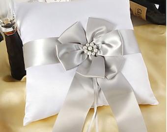 Satin Ring Bearer Pillow w Big Satin Flower