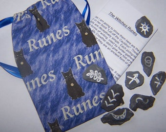 Witches Runes, Set of 8 with Black Cat Rune Bag. Divination, Scrying Wiccan, Pagan.