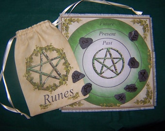 Witches Runes, Set of 8 with Pentacle Rune Bag & Casting Mat. Divination, Scrying Wiccan, Pagan.