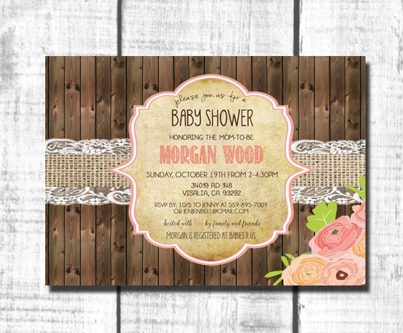 baby girl shower invitations rustic baby girl shower printable