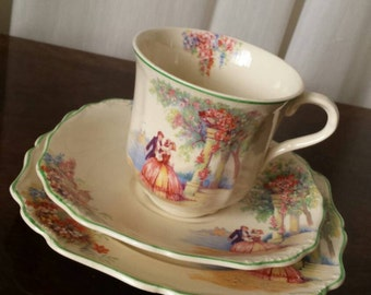Vintage J & G Meakin Tea cup, saucer and cake plate, Blue Danube, trio, c.1920s