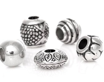 Antique silver beads Tibetan silver 10 x.