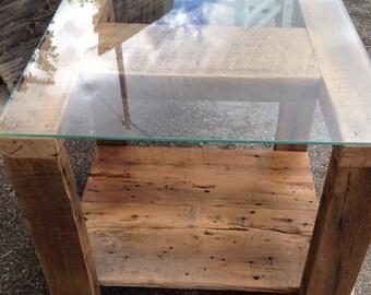 Barnwood Glass Top End Table