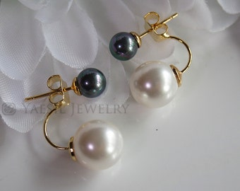 Romantic [6/10] Double Pearl Earrings in Rainbow Black and White, Double Pearl Earrings, Sterling Silver Post, Quality Pearls