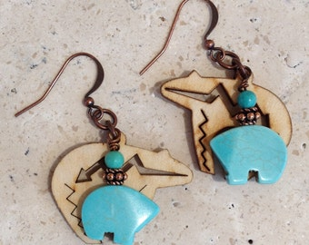 Turquoise & wood Zuni bear earrings