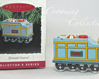 1995 Hallmark Yuletide Central Tender Car Ornament Keepsake Vintage Pressed Tin Train Series #2 Candy Car 2nd in Series