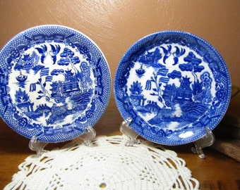 "Two (2) Vintage ""Blue Willow"" Pattern Small Plates"