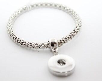 Silver Stretch Snap Bracelet