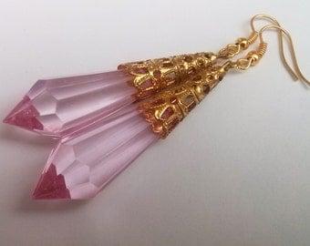 Pink Teardrop Earrings , Pink Earrings , Gold Earrings , Statement Earrings , Dangling Earrings , Handmade Jewelry , Victorian Earrings Boho