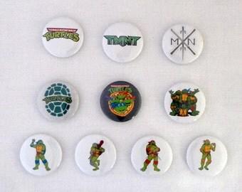 "Teenage Mutant Ninja Turtles  Set of 10-  1"" pin back buttons"