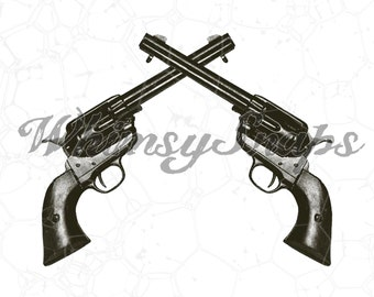 Crossed Western Pistols Guns DIGITAL IMAGE Download,  .png and .jpeg, transfer