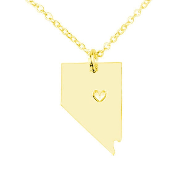 gold nevada state shaped necklace with a by initialnecklaces