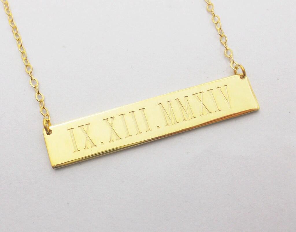 Date necklace, Calendar Necklace, Engraved necklace, Wedding date ...