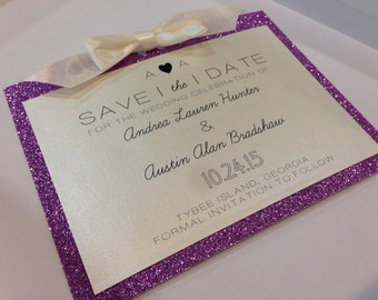 Heart Glitter Save-The-Date Set // Invitation