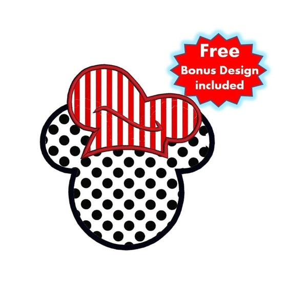 Mickey Minnie Mouse Chef Appliqué Design With Free Bunny