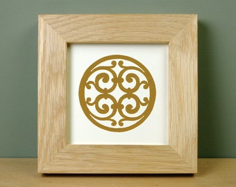 Framed Screen Print of Medieval Tile Design (Winchester Cathedral, Hampshire)