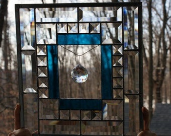 Stained glass window panel with LARGE  CRYSTAL PRISM  and clear glass bevels