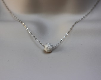 SALE-Sterling Silver Stardust Necklace, Silver Ball Necklace, Stardust Necklace, Simple Necklace, Bridesmaid Jewelry, Minimalist Jewelry