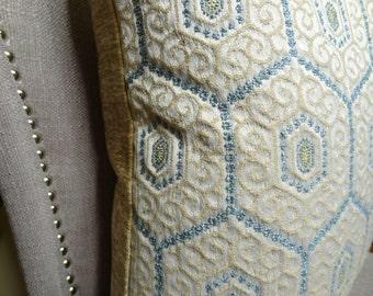 "SALE  -- 20"" 18"" or 12"" x 20"" Geometric Throw Pillow Cover - Taupe Blue Designer Pillow - Modern Venetian Pillow - 11110"