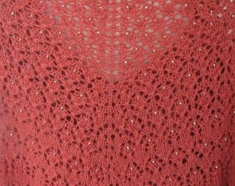 nice crochet  stole,shawl dark red big size