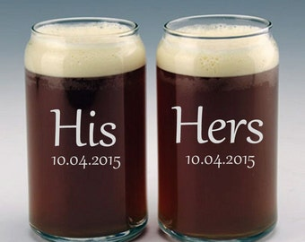 Personalized His and Hers Beer Can Glasses / Custom Etched Wedding Gift / 48 DESIGNS! / Set of 2 Glasses