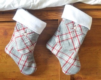 Flannel and fleece lined Christmas stocking, plaid, upcycled, holiday, country, pair, Green decorations, pocket, red and grey, two available