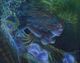 What Lies Beneath, original acrylic mermaid painting, fantasy fine art