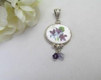 Broken China Jewelry  Pendant  Royal Stafford  'Sweet Violets'  Sterling Silver  Swarovski Crystals Lavender Herb