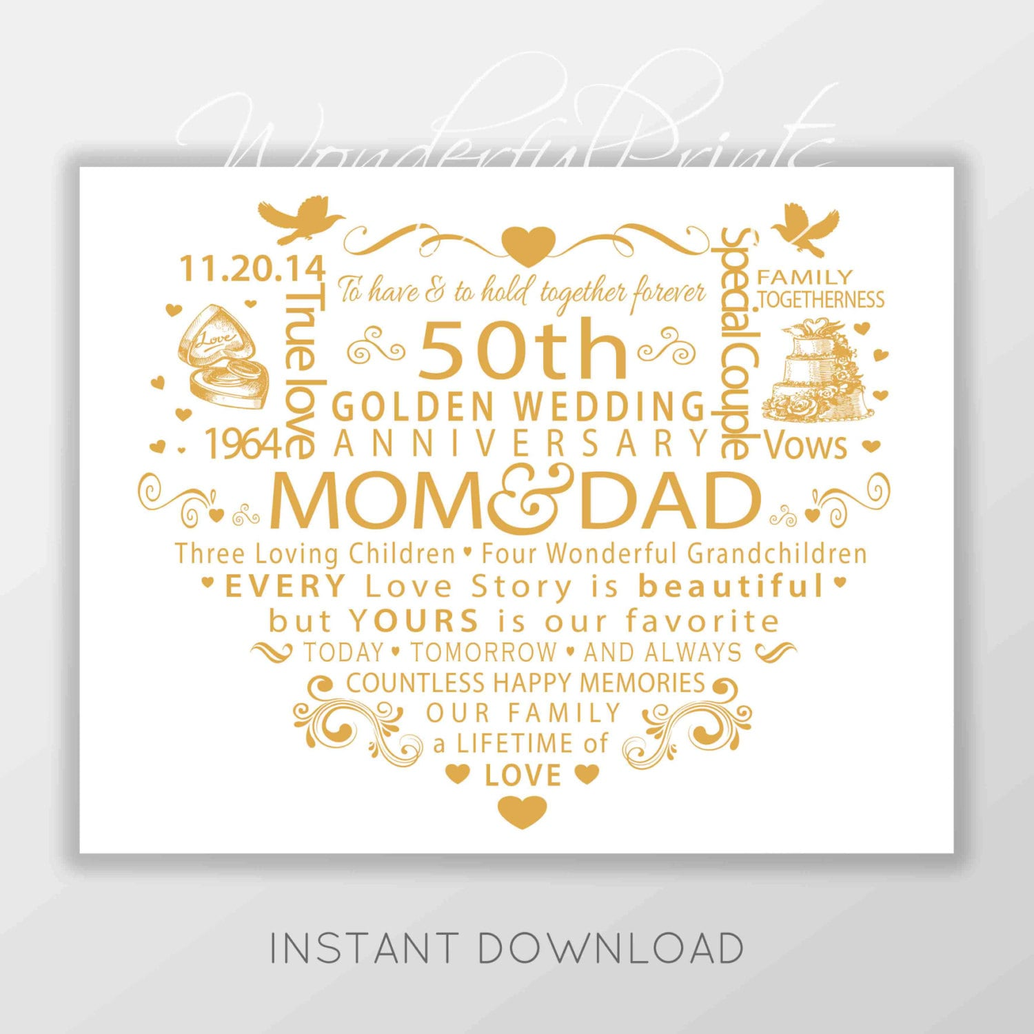 Wedding Anniversary Gift For Mom N Dad : PRINTABLE Personalised Custom 11x14 Word Art Mom Dad Mum and