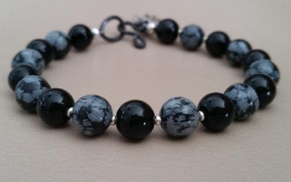 ONYX and SNOWFLAKE OBSIDIAN Beaded Bracelet. Black, Gray, Silver. Steel Hook and Eye Clasp. 8mm Gemstone Beads. Unisex.