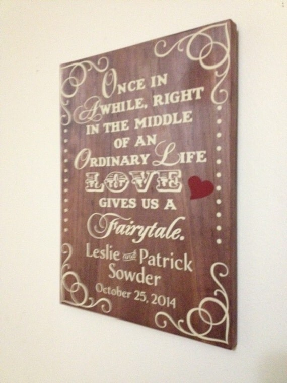 Fairytale Wedding Sign - Anniversary Gift - Wedding Present - Birthday Gift - Gift for Husband - Gift for Wife - Fairytale Love Story Gift