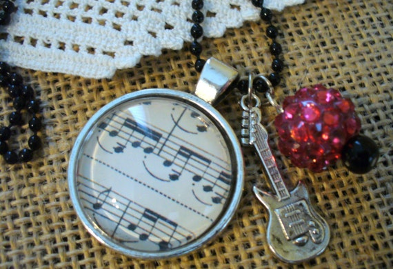 Musical Pendant Necklace, Guitar Necklace, Pink Rhinestone Necklace, Pink Bead Necklace, Black Bead Chain Necklace,