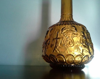 Italian Genie Bottle, Zodiac Pattern, Amber Glass
