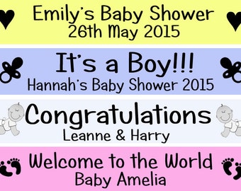 Baby Shower Personalised Banner Wall Decoration It's a Boy / Girl Banner PB80