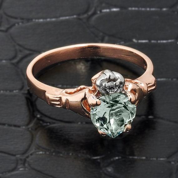 rose gold claddagh ring aquamarine claddagh ring rose gold. Black Bedroom Furniture Sets. Home Design Ideas