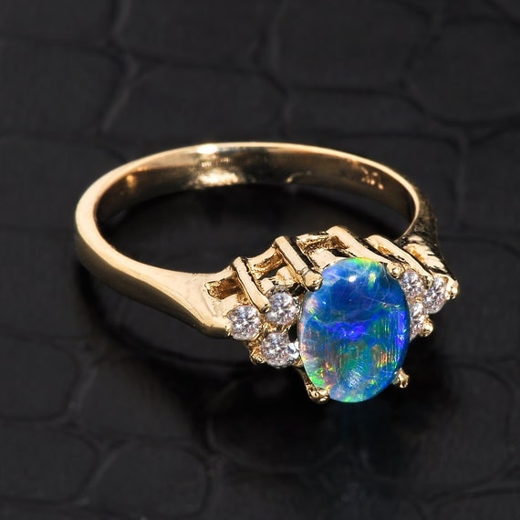 Opal ring gold opal ring opal and diamond engagement ring