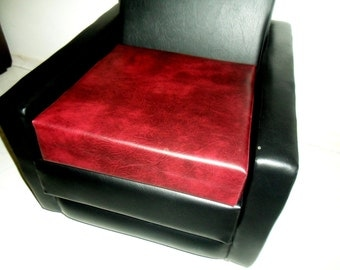 Booster Seat Cushion Upholstered In A Premium Wine Faux Leather