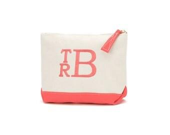 Monogrammed Makeup Bag Canvas Zipper Pouch with Coral Trim