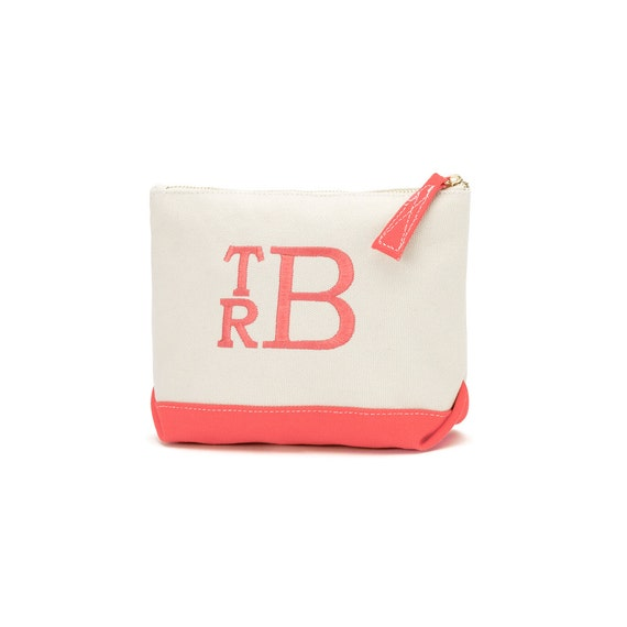 CLOSEOUT SALE Monogrammed Makeup Bag Canvas Zipper Pouch with Coral Trim