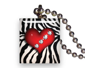 Diamond Heart Zebra Pattern - Reclaimed Scrabble Tile Pendant Necklace