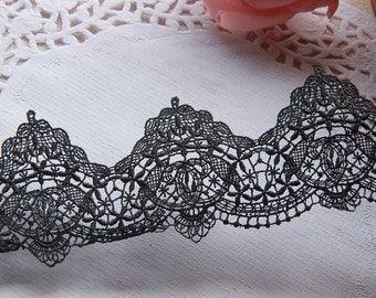Black Floral Lace Silk Yarn Trim Embroidery Hollow Out Lace Trim 1.57 Inches Wide 3 Yards L0314