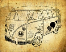 Vintage Hippie Camper Van Clipart Lineart Illustration Instant Download PNG JPG Digi Line Art Drawing L550