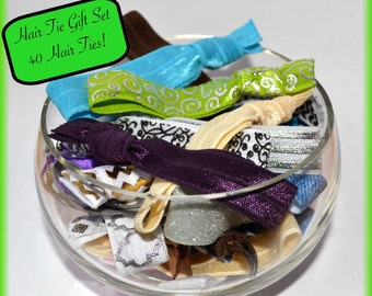Hair Tie Gift Set! 40 soft elastic hair ties with organza bag. No crease hair ties, hair ties bulk, Mother's Day gift, teen gift