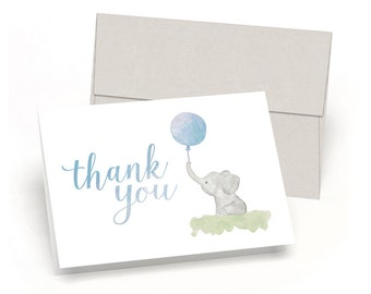 Little Elephant Baby Shower Thank You Cards - Watercolor Elephant & Balloon - By Palmer Street Press