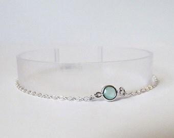 mint and silver bracelet, delicate bracelet, dainty bracelet, minimalist bracelet,simple bracelet, bridesmaids gift bracelet
